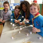 Image of Beavers building a strong structure from dry spaghetti and marshmallows