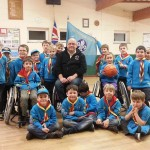 Image of the Beavers enjoying the visit by the South West Scorpions wheelchair basketball team